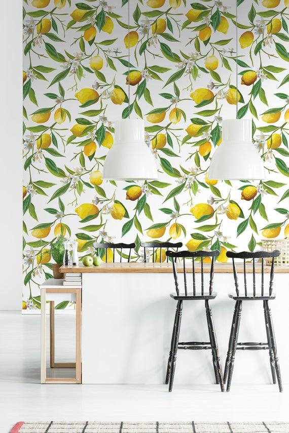 Lemon Tree Retro Wallpaper Peel And Stick Wall Mural Etsy Floral Wall Decor Retro Wallpaper Removable Wallpaper