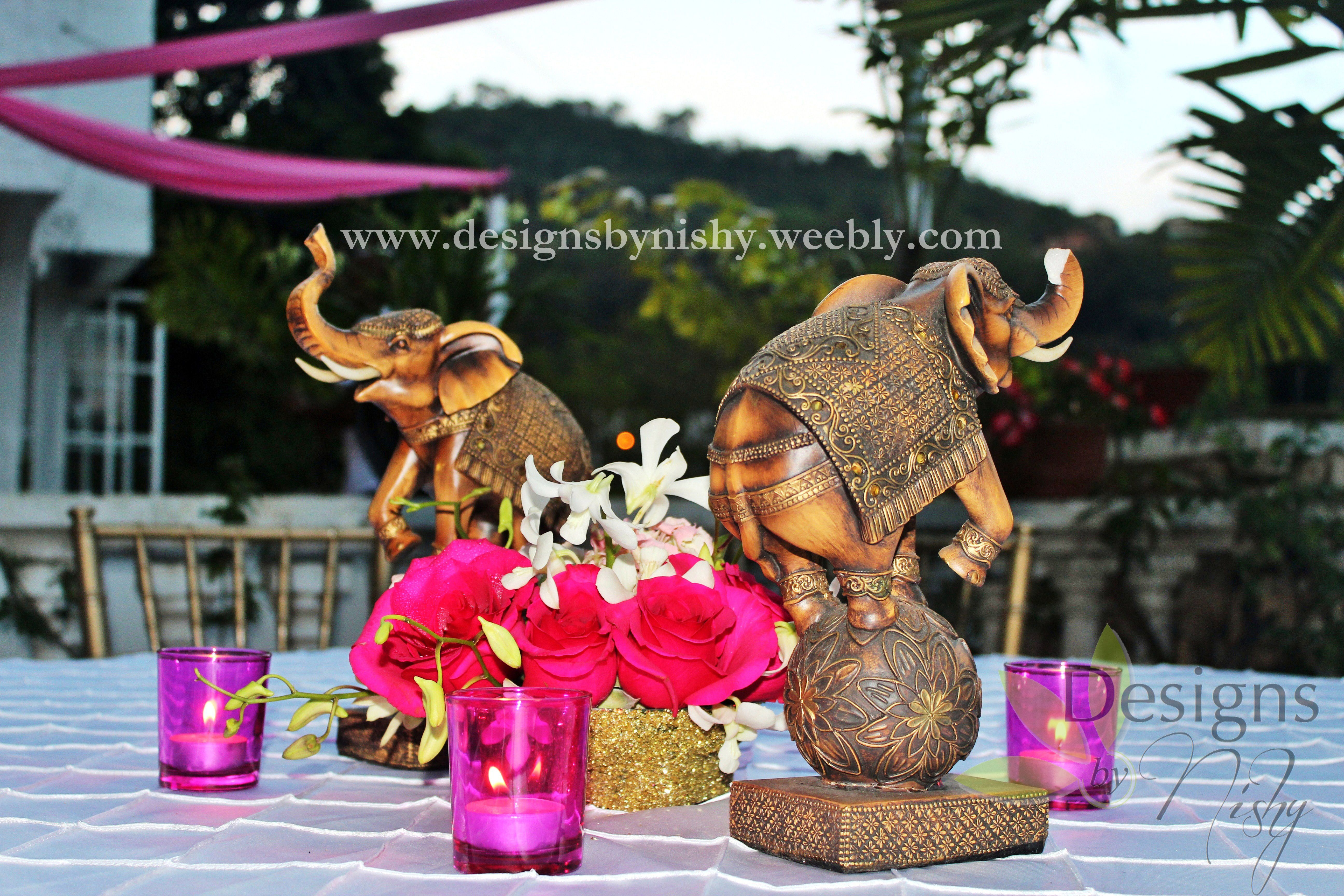 #Elephant centerpieces for #Indian themed party done by #DesignsByNishy