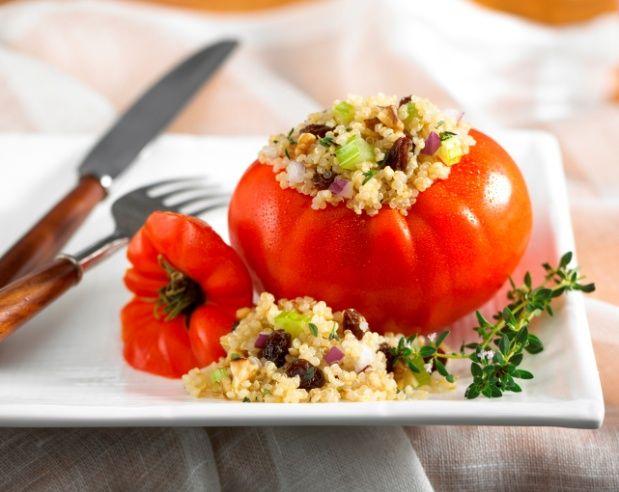 Quinoa and Raisin Salad Stuffed in Tomatoes