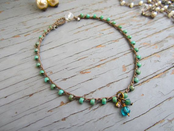 Tiny gems crocheted anklet natural earthy crocheted by Sydneyjos