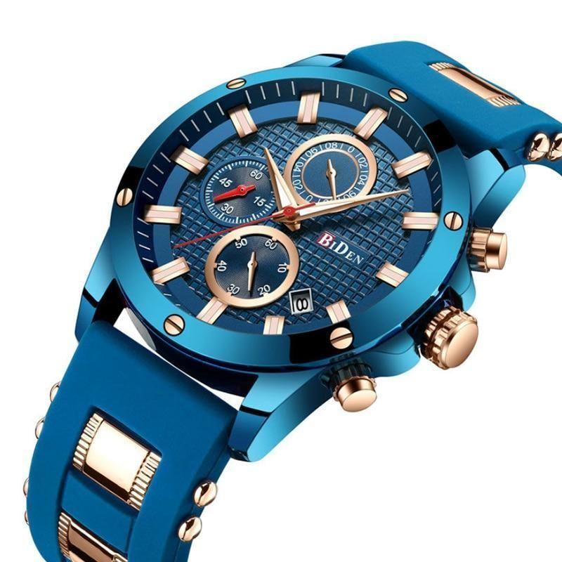 Luxury Blue Golden Sport Men Quartz Watch Top Brand Biden Fashion Stainless Steel Casual Males Wrist Watch 30 Meter Waterproof Free Shipping Item Type