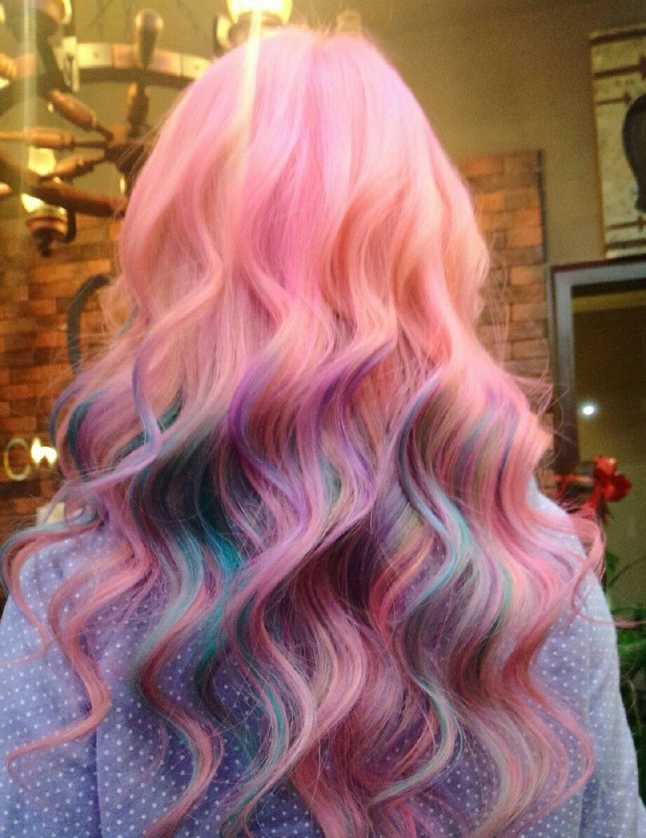 Multicolored Hair Kawaii Hairstyles Pretty Green Colorful