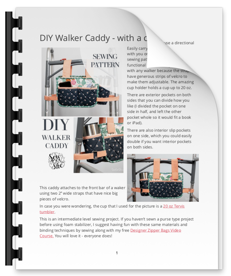 Walker Caddy - Optimized for Printing — SewCanShe | Free Sewing Patterns and Tutorials