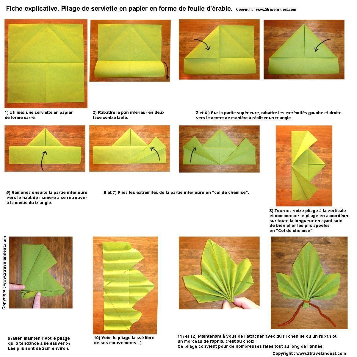Pliage De Serviette En Papier 2 Couleurs Feuille Fashion Designs Avec Pliage Serviette Feuille D E In 2020 Beautiful Napkin Folding Napkin Folding Paper Crafts Origami