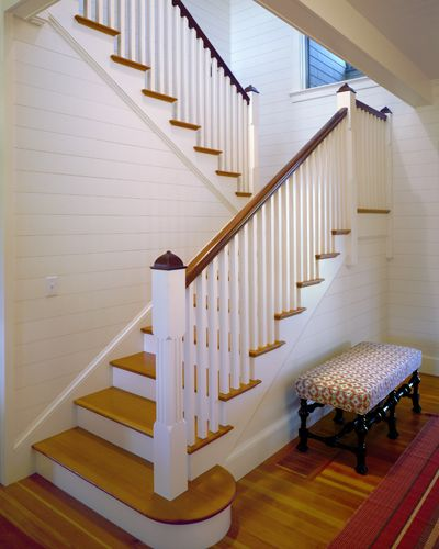 21 Attractive Painted Stairs Ideas Pictures: Wood Stairs With Painted Risers, White Plank Walls