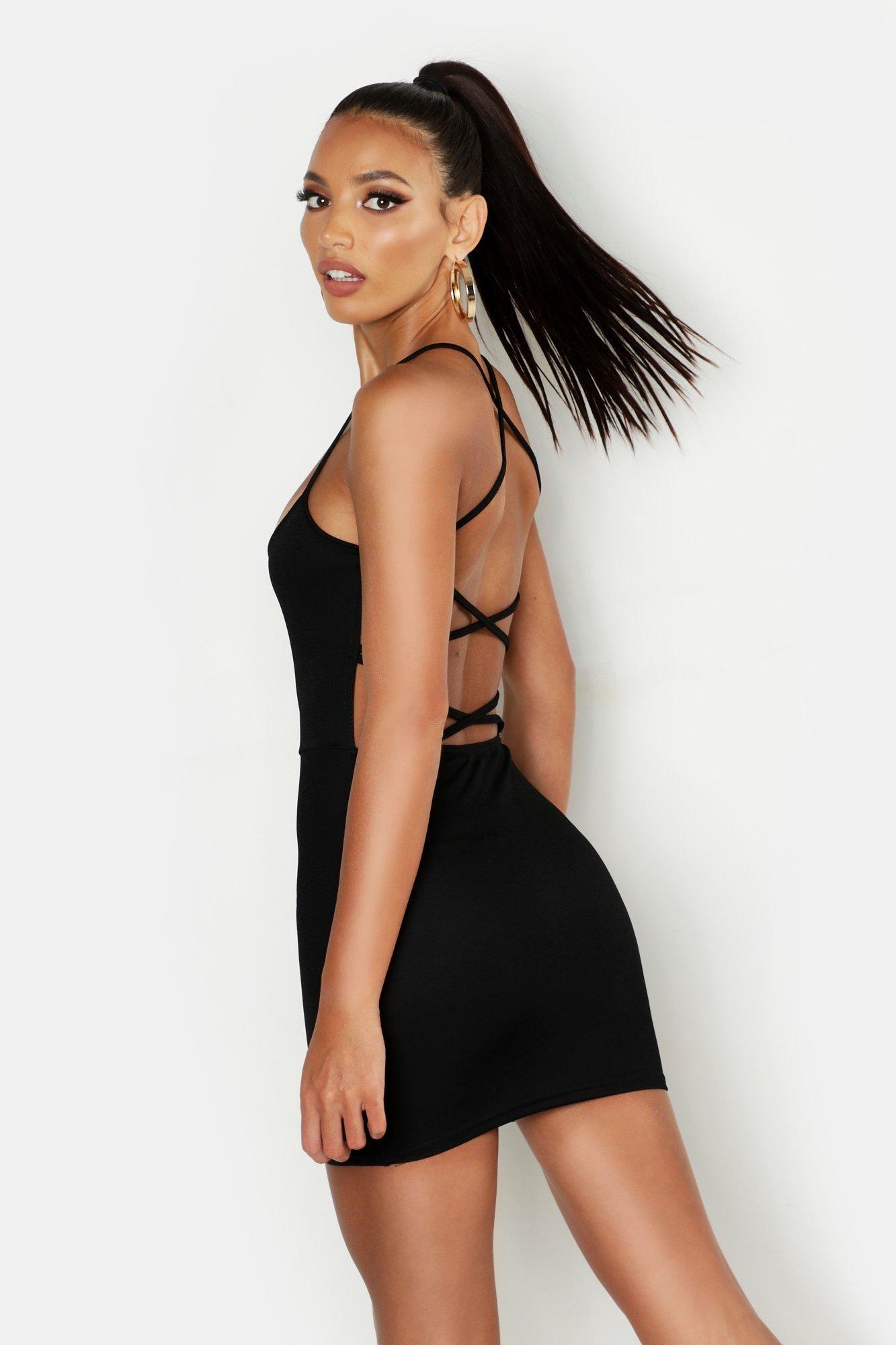 Cross Strappy Back Bodycon Dress Boohoo In 2020 Black Bodycon Dress Bodycon Fashion Fashion