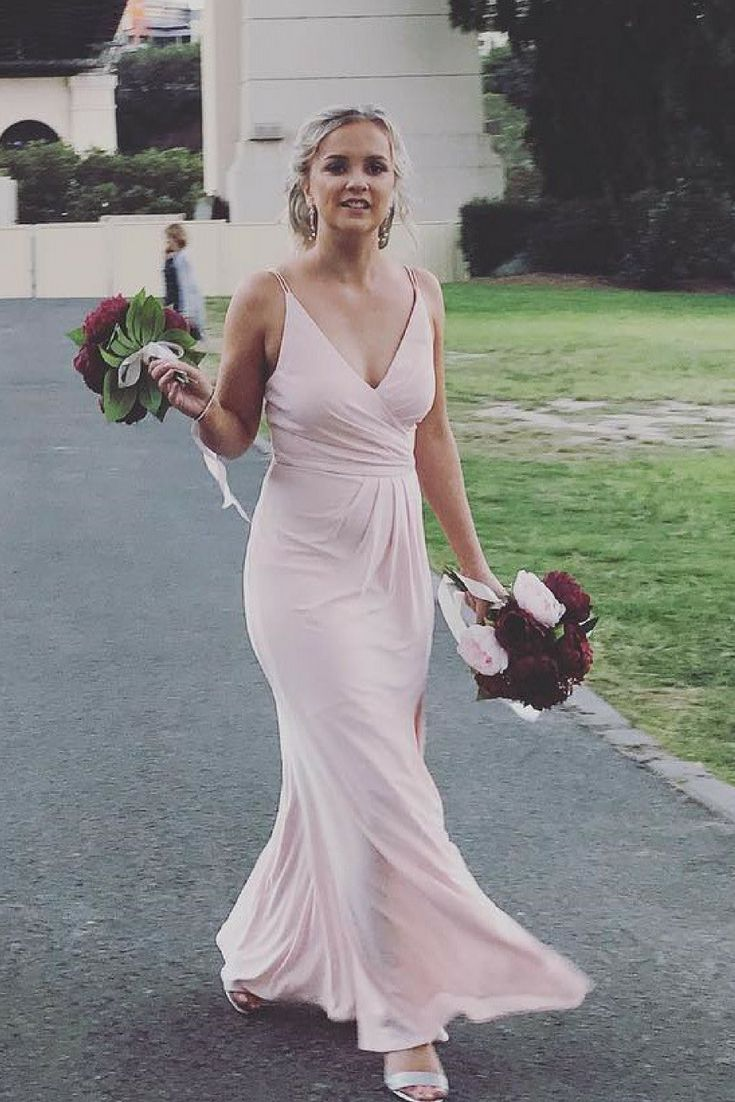Cheap light pink spaghetti strap v neck bridesmaid dresses ard