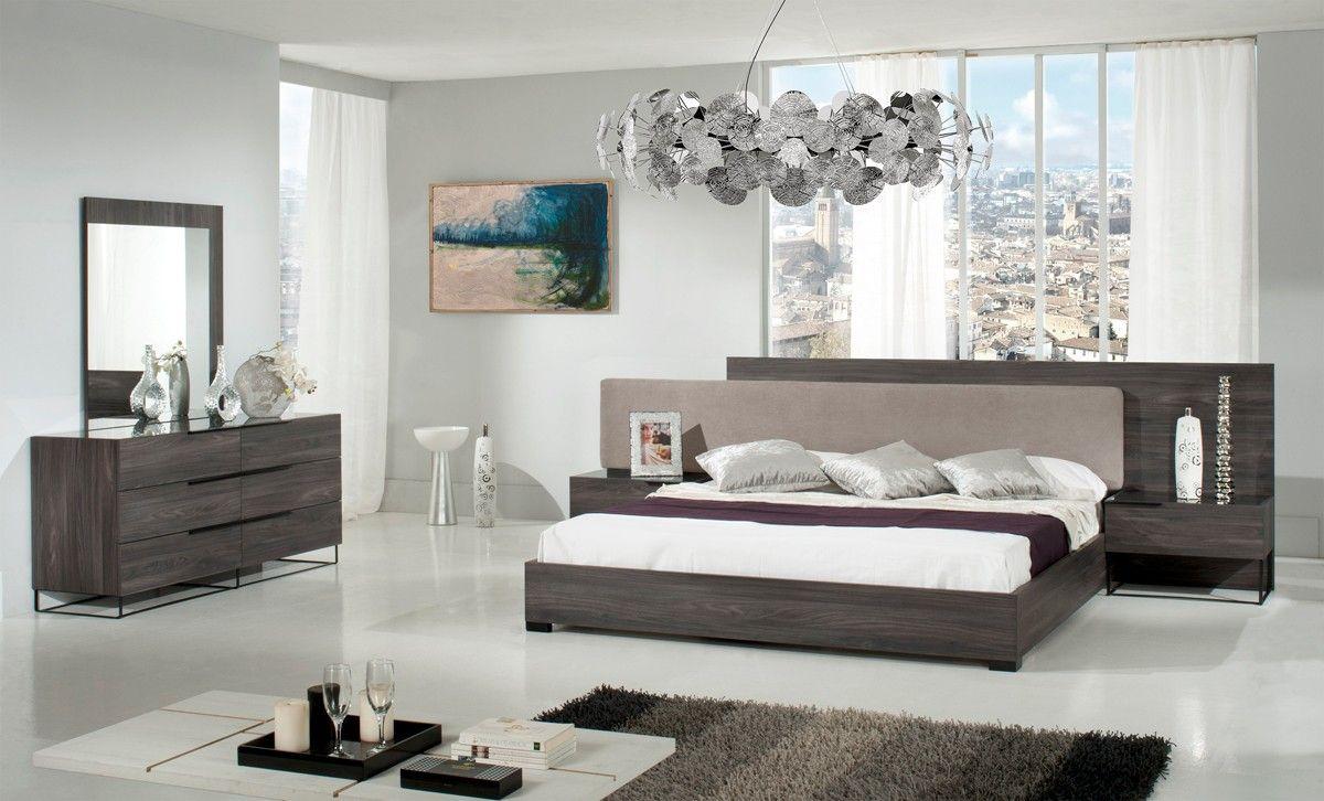 Nova Domus Enzo Italian Modern Grey Oak & Fabric Bedroom Set | Grey ...