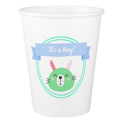 It's a girl! | Cute Green Baby Bunny Paper Cup - girl gifts special unique diy gift idea