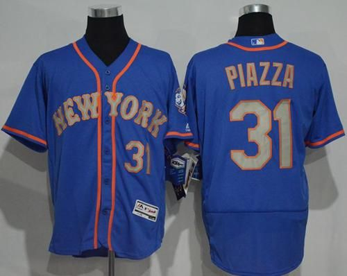 new style 65660 f7f78 Mets #31 Mike Piazza Blue(Grey NO.) Flexbase Authentic ...