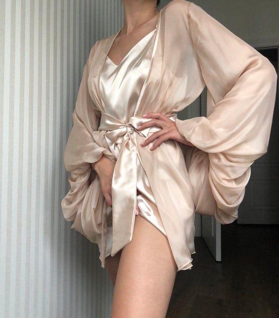 Bridal silk set/ Chiffon robe/ Short silk nightgow