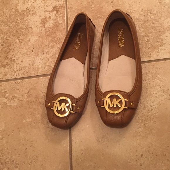 BRAND NEW BROWN AND GOLD FLATS NEVER WORN BROWN LEATHER FLATS MICHAEL Michael Kors Shoes Flats & Loafers
