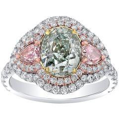 Extremely Rare GIA Certified 2.00 Carat Fancy Light Bluish Green Diamond Ring