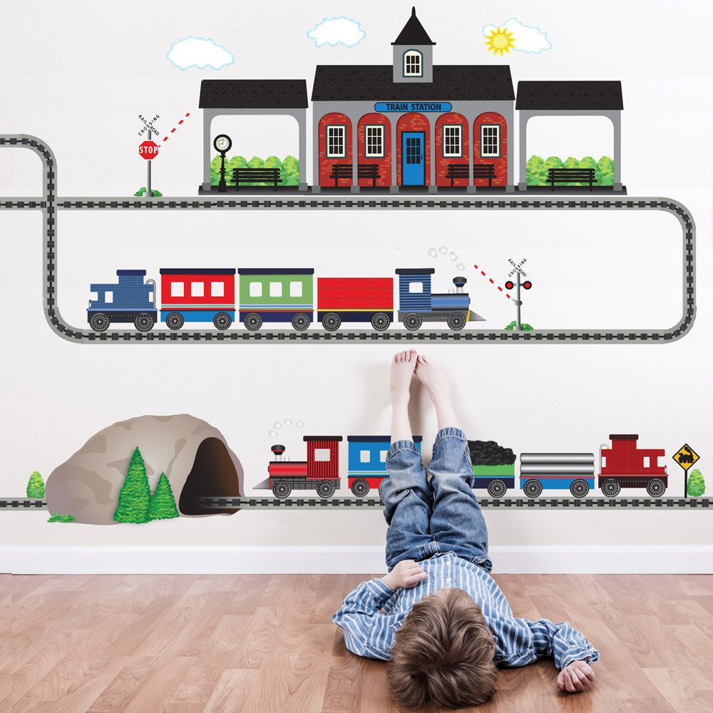 Two Freight Trains Train Station Tunnel with Straight and Curved Railroad Track Movable Mural Wall Decals (Repositionable) Peel and Stick!  sc 1 st  Pinterest & Train Wall Decal 2 Freight Train Wall Decals Train Station | Wall ...