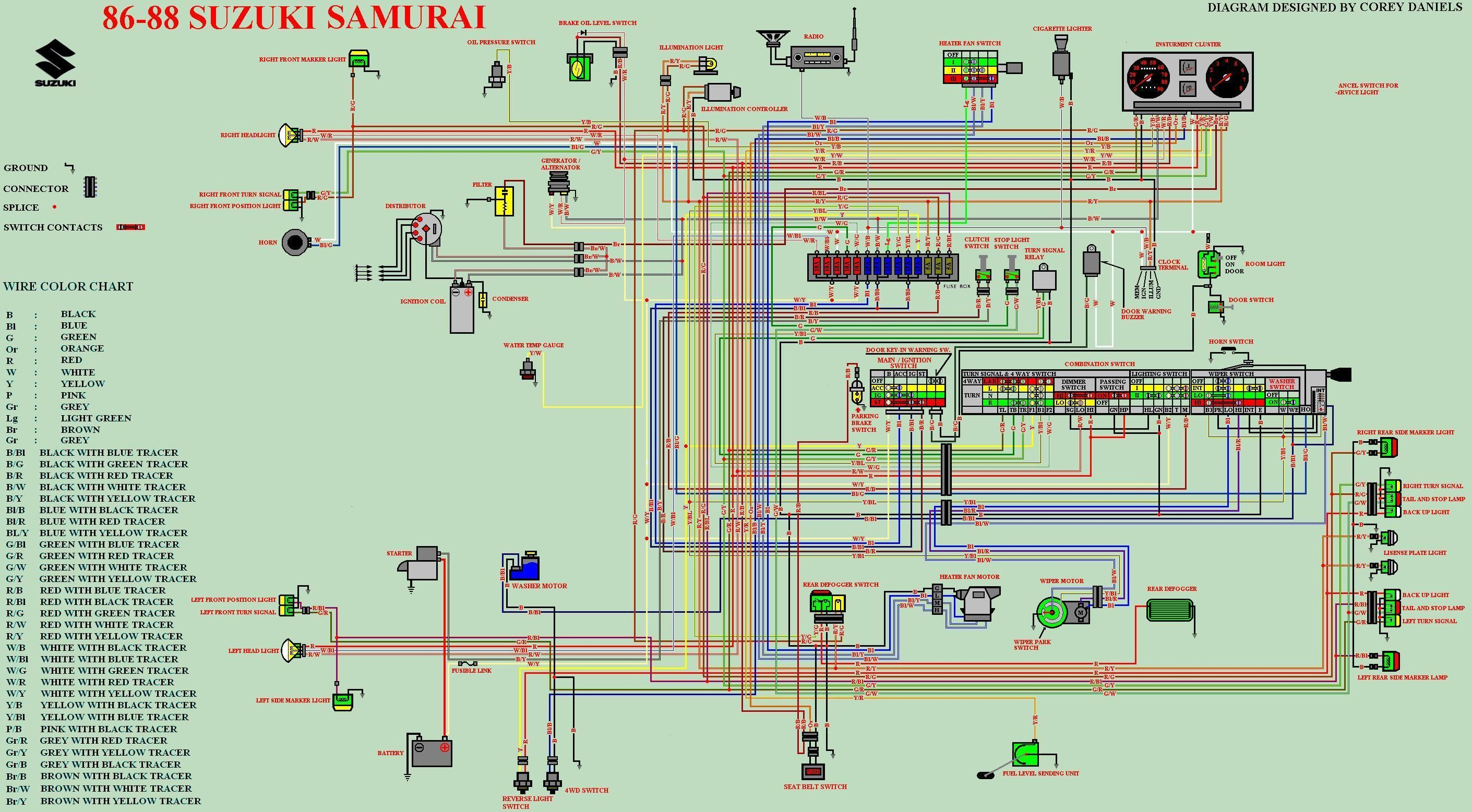 samurai schematics for running without stock hitachi ... wiring diagram for 1988 suzuki samurai