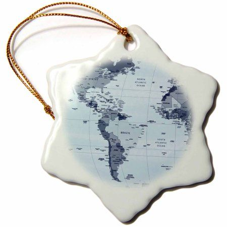 3dRose North and South America Maps, Snowflake Ornament, Porcelain, 3-inch