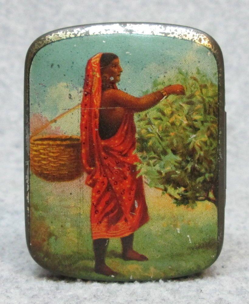 Early 1900's RAM LAI Sample Size PURE INDIAN TEA TIN Vintage Litho Graphics #RAMLAI