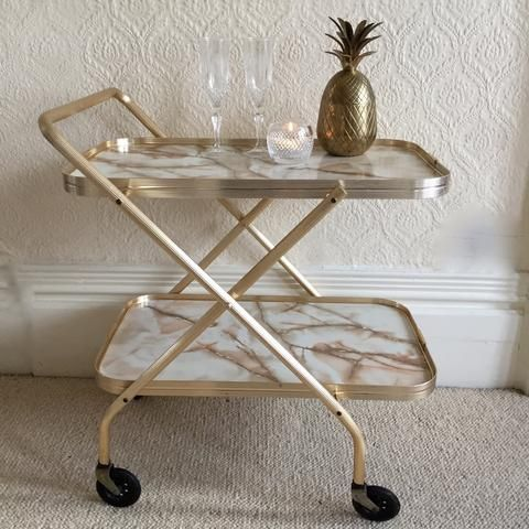 Desserte Retro Vintage Pliante Hostess Trolley Foldable Table qpSVzMUG