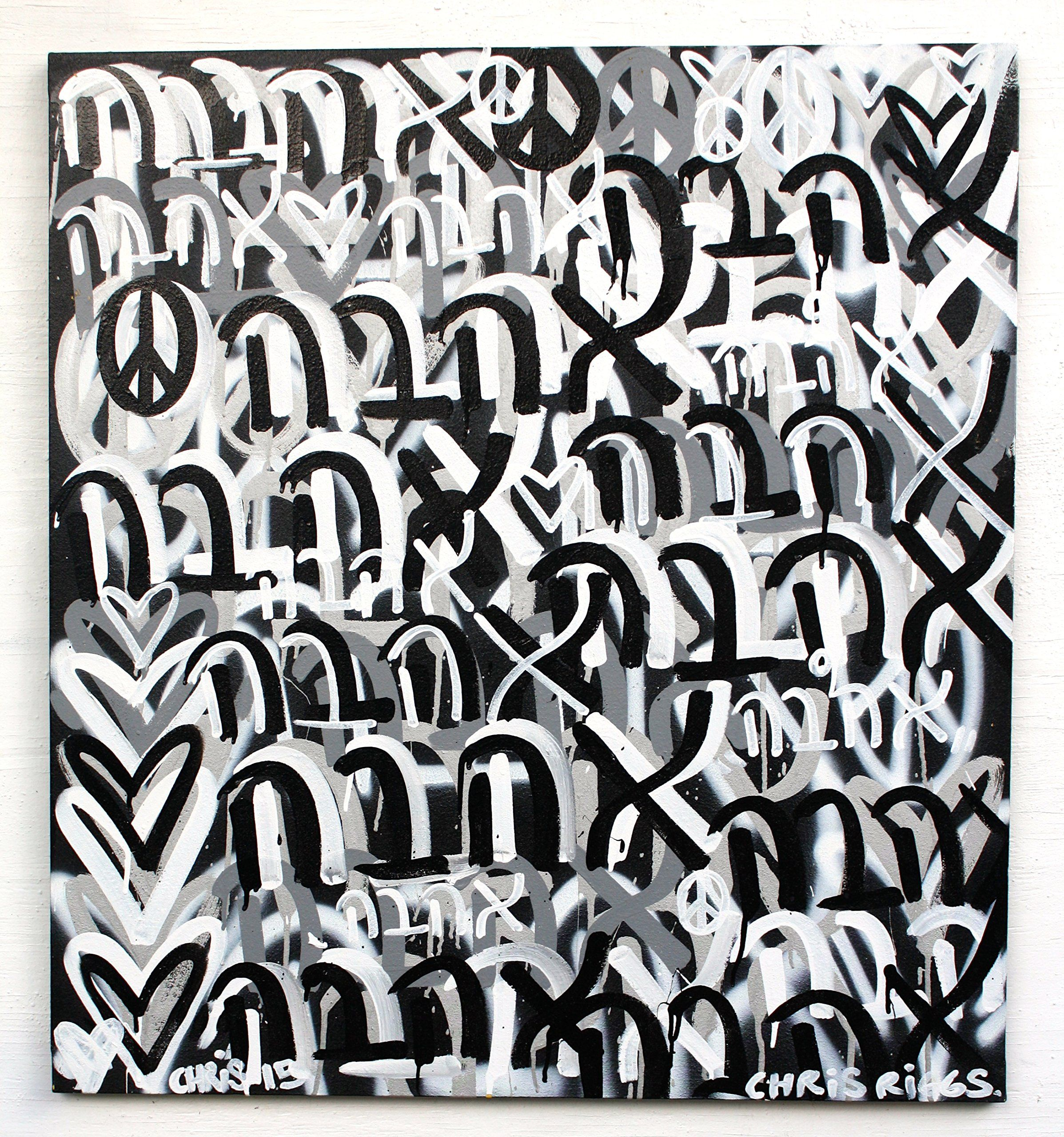 """FREE SHIPPING Hebrew love peace 39"""" x 36"""" hanukkah spray painting original signed street art modern contemporary fine art nyc Chris Riggs art. This painting is 39"""" x 36"""" inches.This is an original painting made by Chris Riggs for mayor. The painting is signed and dated it comes with a certificate of authenticity. Great for a home, office, gallery, museum, gift, or as an investment. His paintings and sculptures are in museums, galleries, and private collections in over 50 countries. Chris..."""
