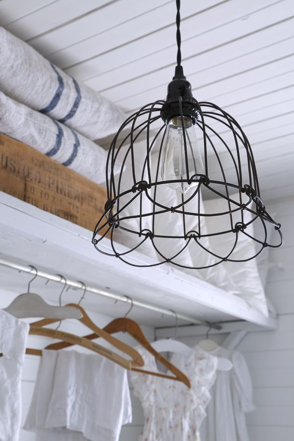 Wire Basket Ceiling Fixture In Farmhouse Laundry Room With Images