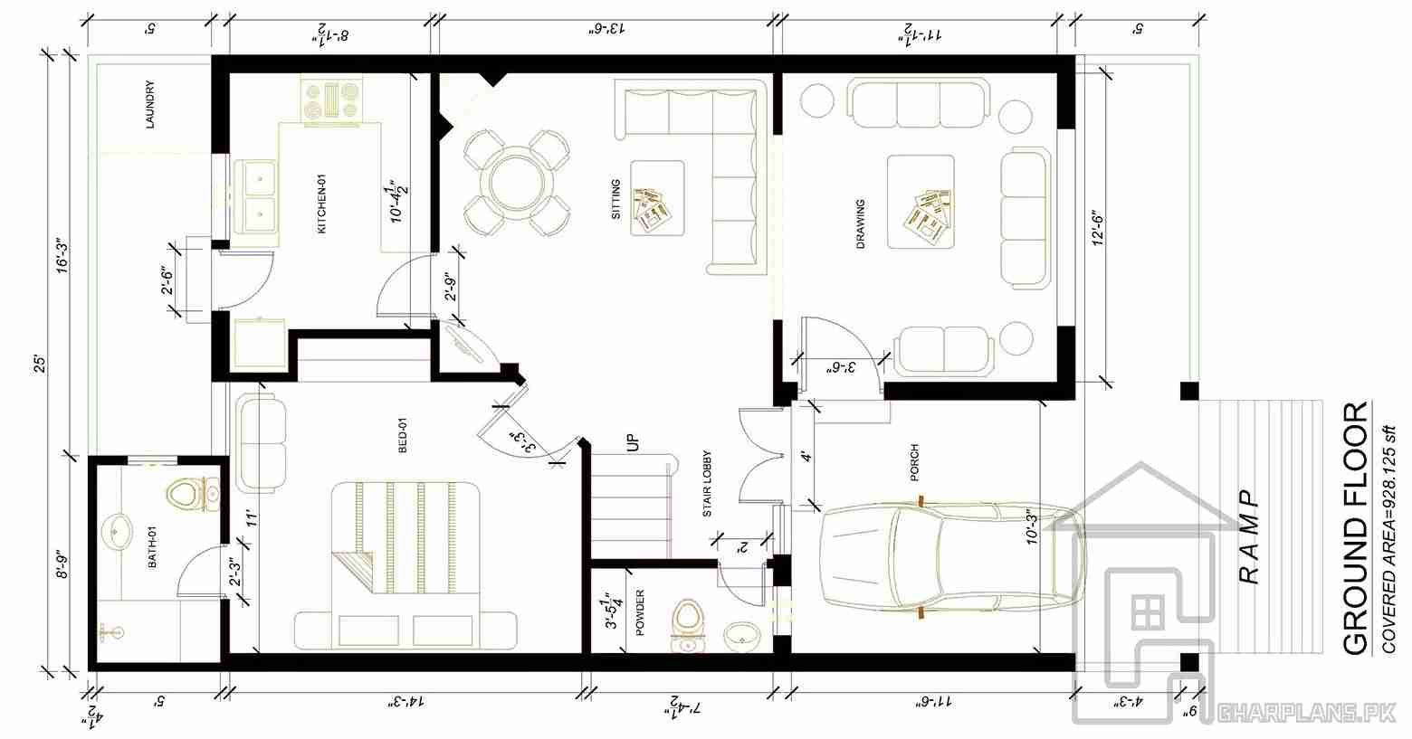 Front Design Of 5 Marla House In Pakistan Part - 36: 5 Marla House Front Design Ground Floor