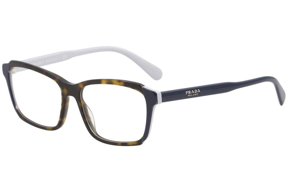 816b194587 Prada Eyeglasses VPR01V VPR 01 V W3C 1O1 Havana Top Blue Grey Optical Frame  55mm