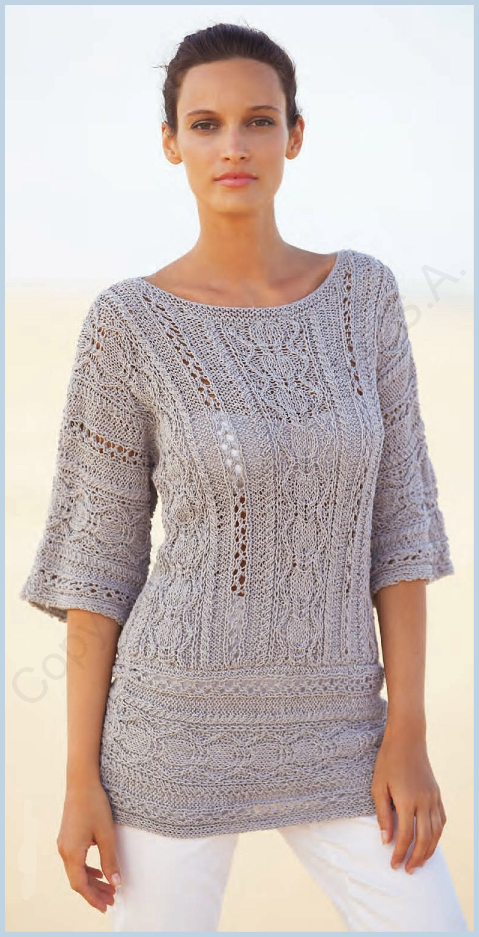 Patrón jersey mujer primavera verano. Fil Katia | Knit world ...