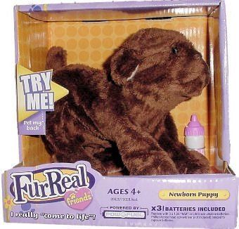 Fur Real Friends Newborn Chocolate Lab Puppy With Bottle By Hasbro