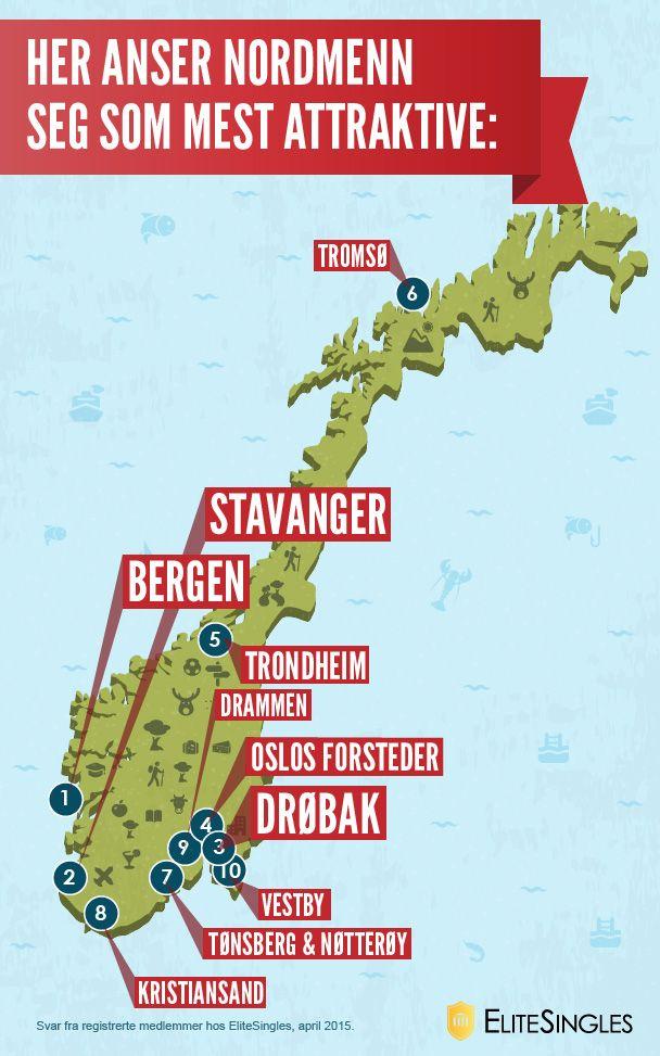 Her anser nordmenn seg som mest attraktive Svar fra registrerte medlemmer hos EliteSingles, april 2015. #Norge #map #infografik #sexiness