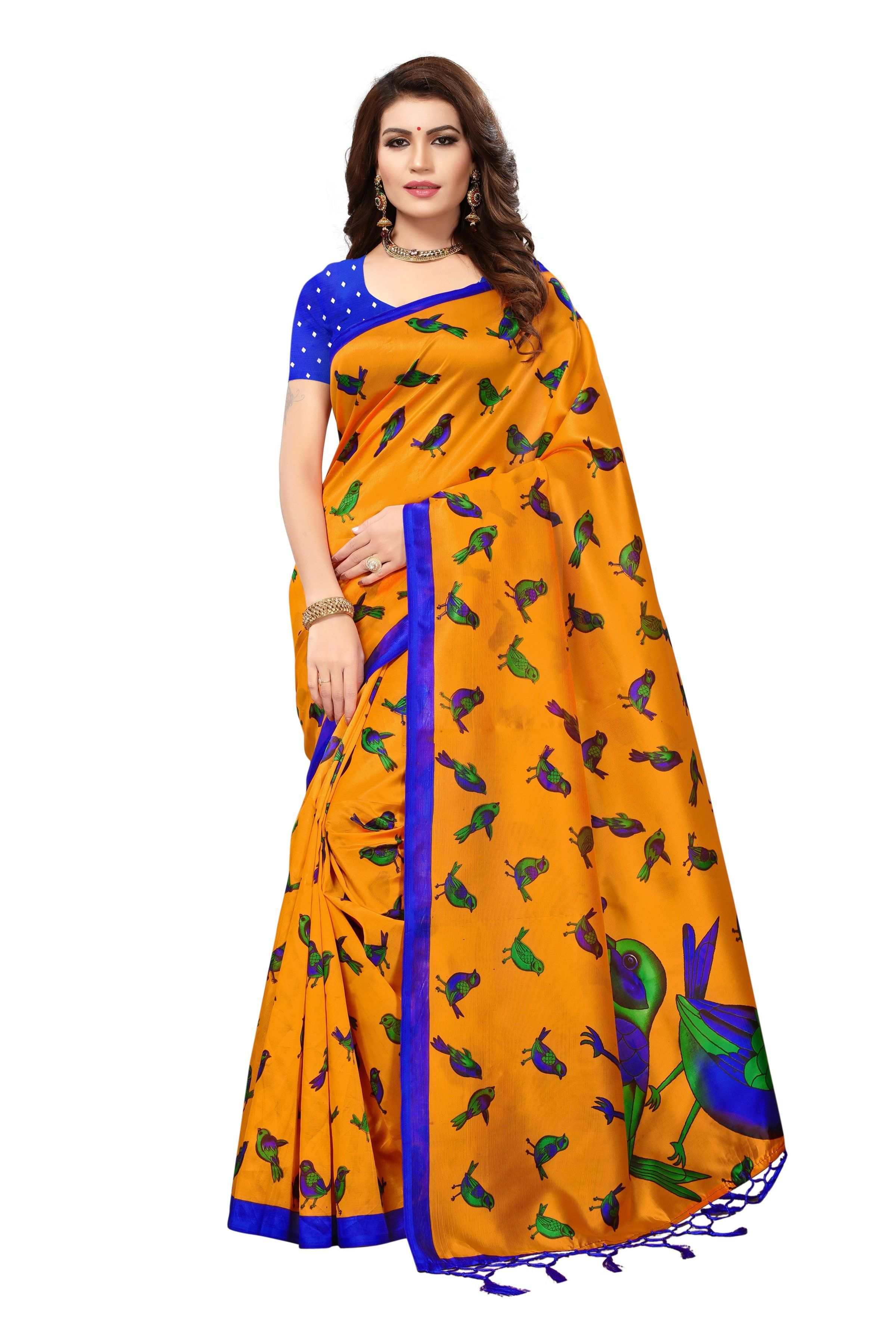 4bbb7ae54c Buy Dark Yellow Color Mysore Silk with Tesals Kalamkari Printed Saree |  Zinnga