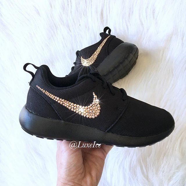 c40439e9df37a Nike Roshe One customized with Rose Gold Swarovski Crystals  Nike   nikerosherun  bling  swarovski  swarovskishoes  sparkle  kicks   kickstagram  kicksonfire ...