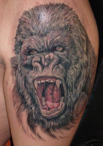Realistic Angry Gorilla Tattoo Real Photo Pictures Images