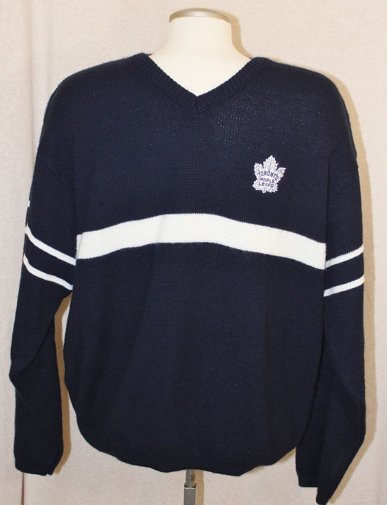 size 40 83fa1 5a64b Details about Toronto Maple Leafs Knit V Neck Sweater Mens ...