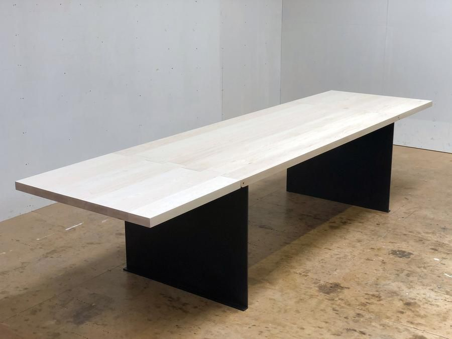 Hinge Extension Dining Table Bleached Maple In 2020 Extension