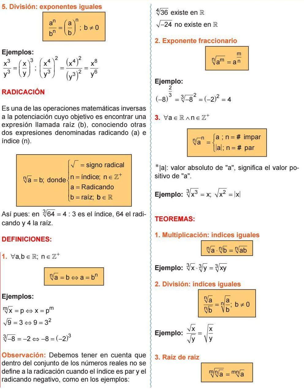 Exponentes Iguales Radicación Exponente Fraccionario Multiplicación índices Iguales División índices Iguales Raíz De Raíz Algebra Math Chemistry