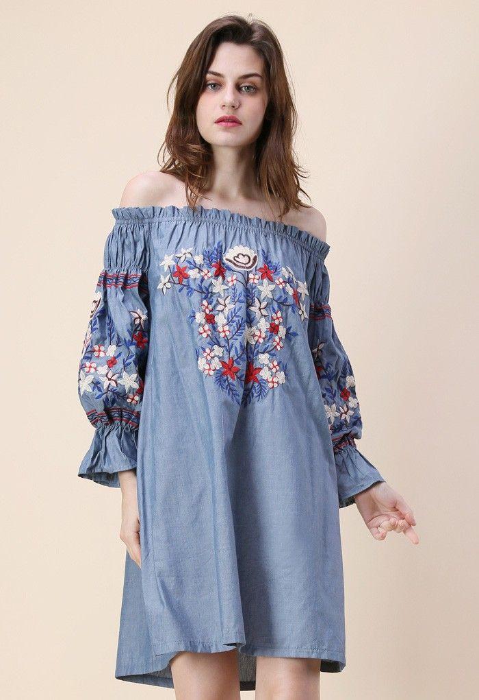 Embroidery for Romance Off-shoulder Denim Dress