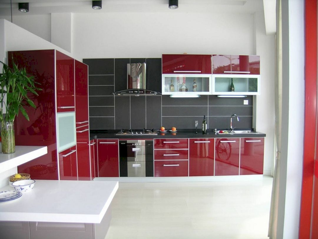 Red and Black Kitchen Ideas 20 (With images) | Red kitchen ...