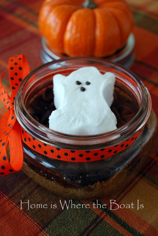 ghost s'mores. graham cracker crust at the bottom. Semisweet chocolate morsels topped with a Peeps ghost. I assume you microwave to melt. Really cute...worth a try without more clear directions?