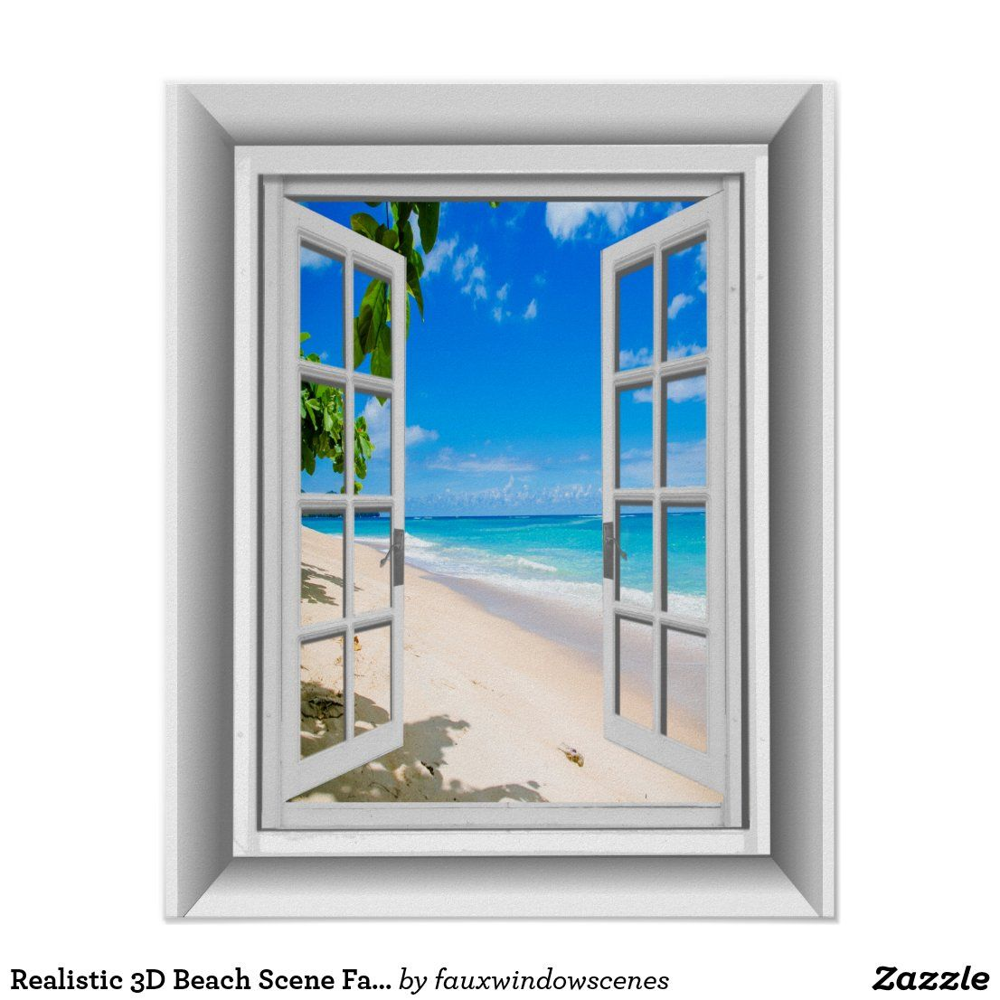 realistic 3d beach scene fake window