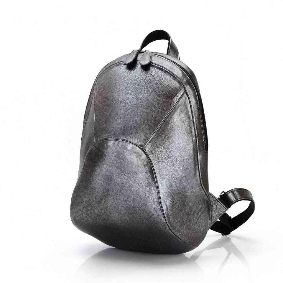 e6ea4433c541 Рюкзак кожаный серебристый / Городской рюкзак для девушки / Рюкзаки женские  Leonid Titow