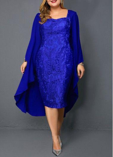 Plus Size Chiffon Cardigan and Sleeveless Royal Blue Lace Dress   modlily.com – …