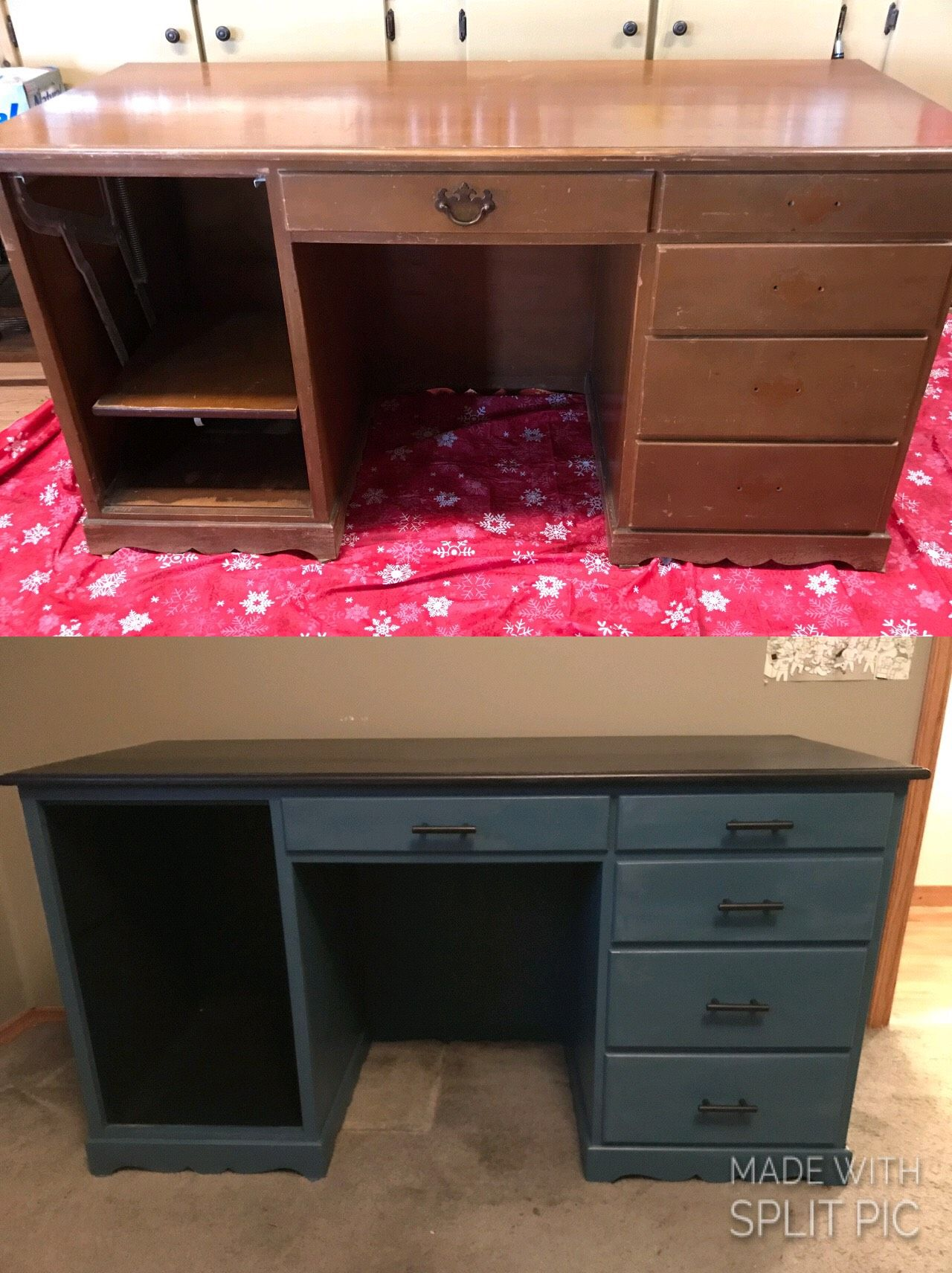 Old Desk Update With Lowes Chalky Boot Black Paint And Annie