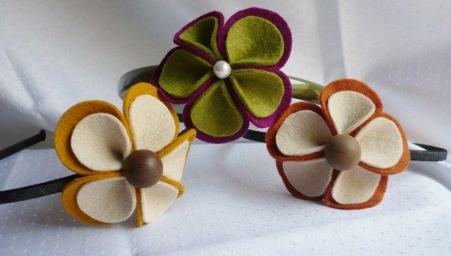 flores de fieltro para diademas , Buscar con Google