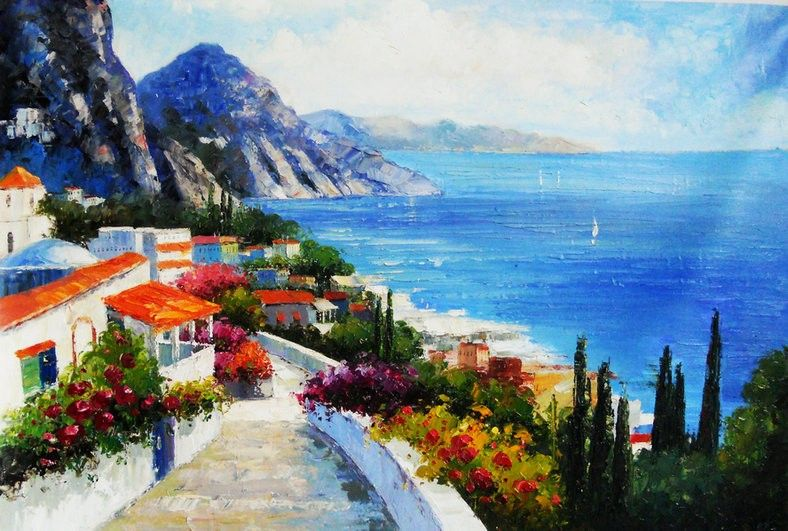 Mediterranean Sea Landscapes Oil Paintings 019