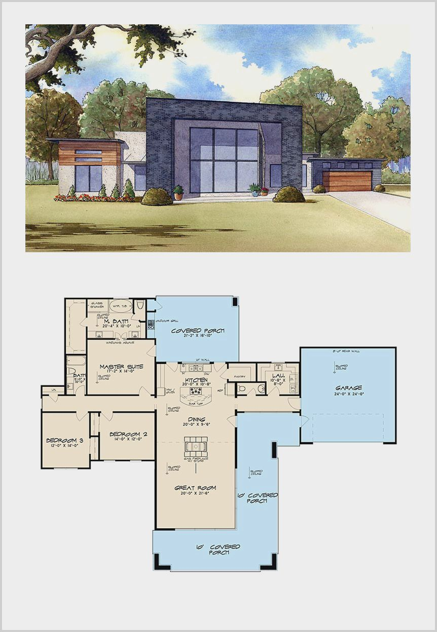 3 Bedroom 2 Bathrooms Small Houses In 2020 Courtyard House Plans Bungalow Floor Plans House Plans With Pictures