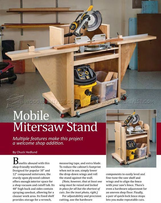 Complete Plans For A Rolling Miter Saw Stand It S Adjustable In Case You Change Your Miter Saw Miter Saw Stand Plans Mitre Saw Stand Miter Saw Table