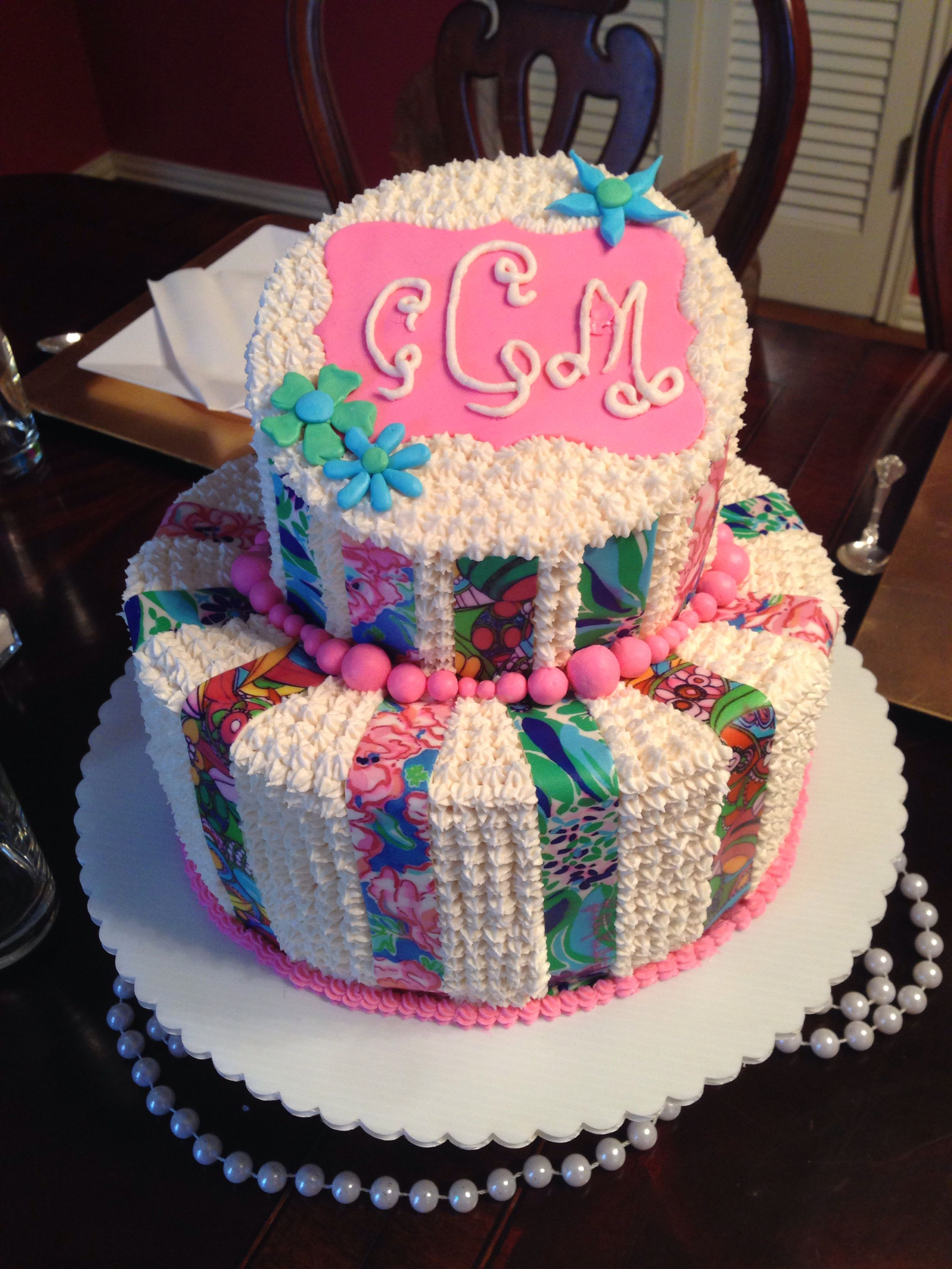 Enjoyable Lilly Pulitzer Monogram Cake With Images Adult Birthday Cakes Funny Birthday Cards Online Alyptdamsfinfo