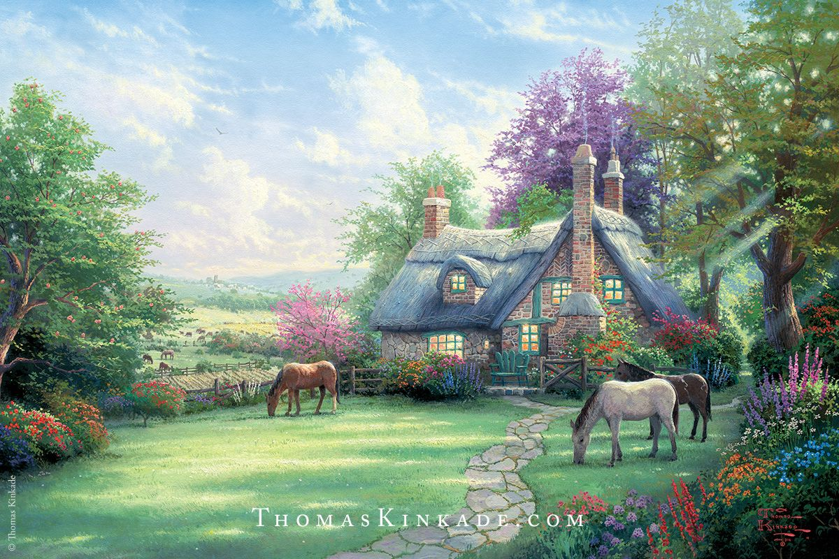 "Thomas Kinkade painted ""A Perfect Summer Day"" while on a trip to England with his wife Nanette. He wanted to capture the verdant colors of the season and to highlight the ripening Summer fields as a gateway to the abundance of the Fall Harvest. As we get ready to transition from Summer to Fall, we hope you enjoy this classic Thomas Kinkade painting. And don't forget to look for the 4 N's that Thom hid for Nanette!"