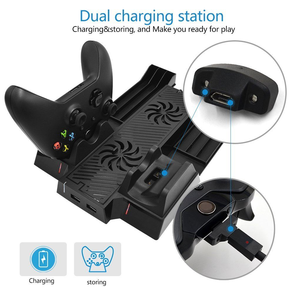 Daleam Xbox One X Vertical Stand With Dual Controller Charging
