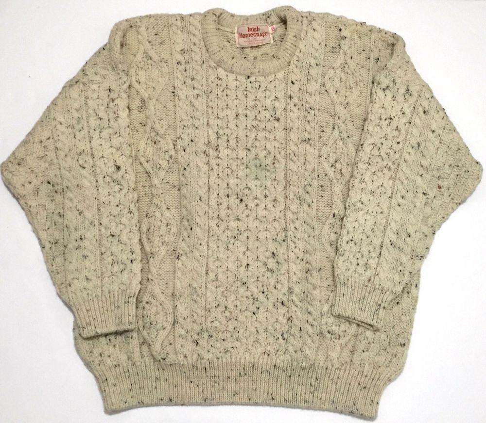 Irish Homecraft Naturally Oiled Wool Aran Fisherman Cable Knit ...